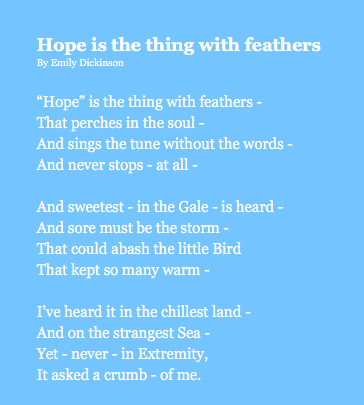Hope is the Thing, blue