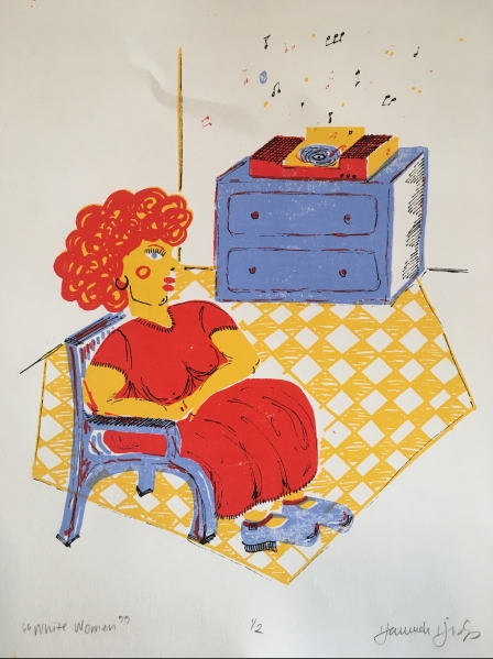 White Women, serigraph on paper, by Hannah Hislop